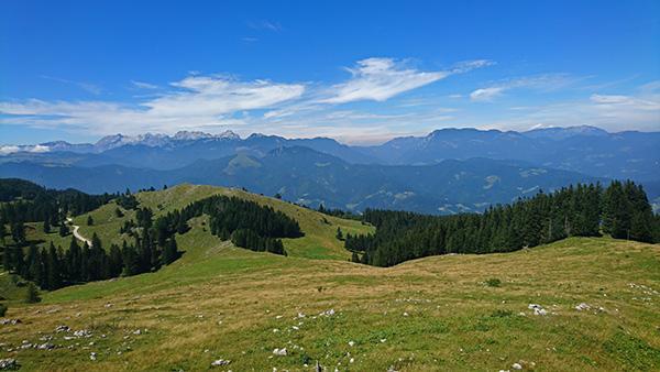 Razgled iz vrha Špic, Menina planina